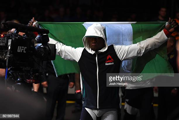 Kamaru Usman prepares to enter the Octagon before facing Leon Edwards in their welterweight bout during the UFC Fight Night event at the Amway Center...