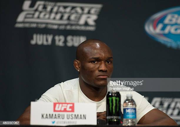 Kamaru Usman speaks to the media during the UFC 189 TUF Finale Press Conference at MGM Grand Hotel Casino on July 9 2015 in Las Vegas Nevada