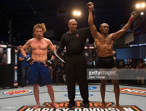 Kamarudeen Usman celebrates his victory over Steve Carl during the filming of The Ultimate Fighter: American Top Team vs Blackzilians on February 24,...