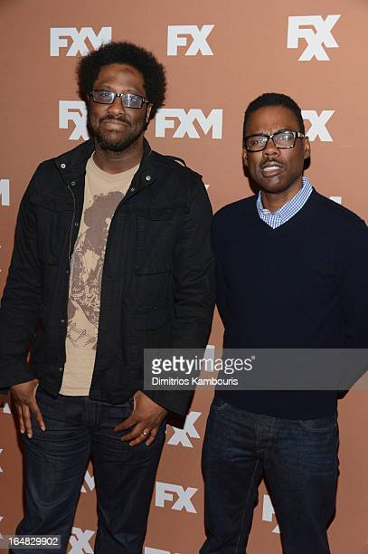 W Kamau Bell and Chris Rock attend the 2013 FX Upfront Bowling Event at Luxe at Lucky Strike Lanes on March 28 2013 in New York City