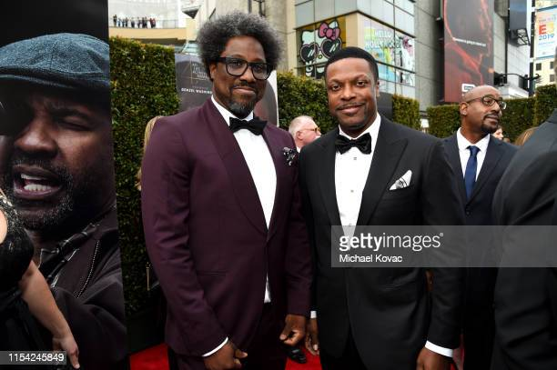 W Kamau Bell and Chris Tucker attend the 47th AFI Life Achievement Award honoring Denzel Washington at Dolby Theatre on June 06 2019 in Hollywood...