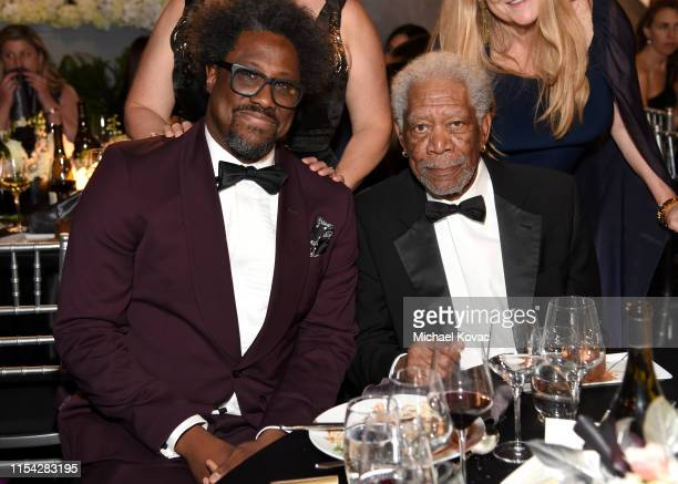 W Kamau Bell and Morgan Freeman attend the 47th AFI Life Achievement Award honoring Denzel Washington at Dolby Theatre on June 06 2019 in Hollywood...