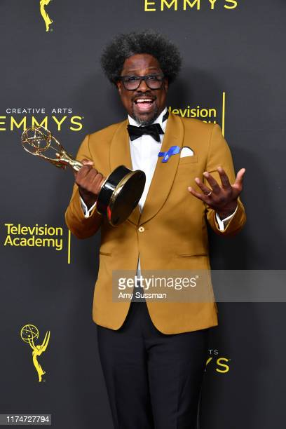 "Kamau Bell poses with the Outstanding Unstructured Reality Program Award for ""United Shades of America with Kamau Bell"" in the press room during the..."