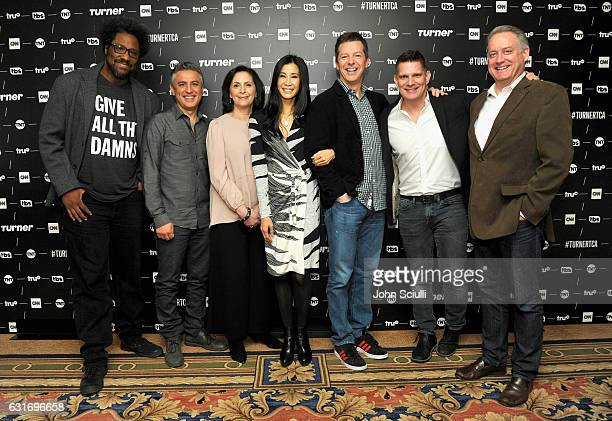 W Kamau Bell Reza Aslan EVP of Talent and Content Development CNN Worldwide Amy Entelis Lisa Ling Sean Hayes Todd Milliner and Mark Herzog pose in...