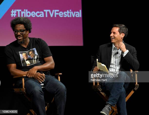 W Kamau Bell speaks onstage at the 'Anthony Bourdain Parts Unknown' Season 12 Premiere panel during the 2018 Tribeca TV Festival at Spring Studios on...