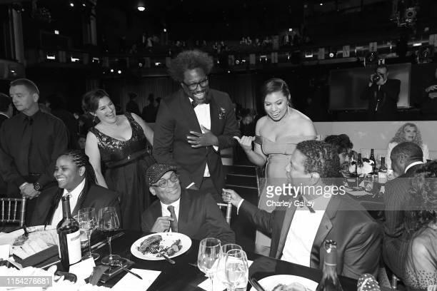 W Kamau Bell Spike Lee and honoree Denzel Washington attend the 47th AFI Life Achievement Award honoring Denzel Washington at Dolby Theatre on June...