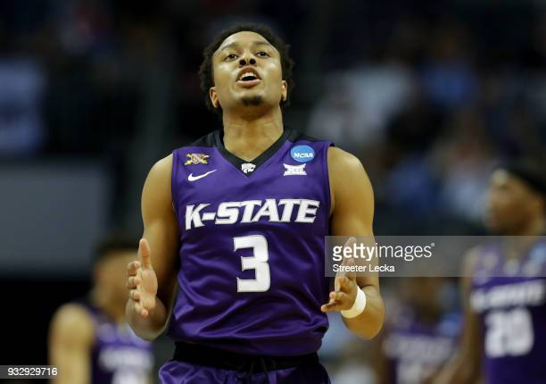 Kamau Stokes of the Kansas State Wildcats reacts against the Creighton Bluejays during the first round of the 2018 NCAA Men's Basketball Tournament...