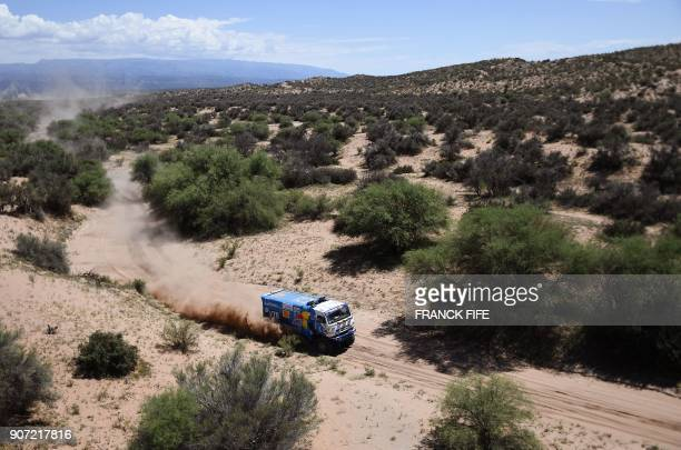 Kamaz Russian driver Eduard Nikolaev codriver Evgeny Yakovlev and mechanic Vladimir Rybakov compete during the 2018 Dakar Rally's Stage 13 between...