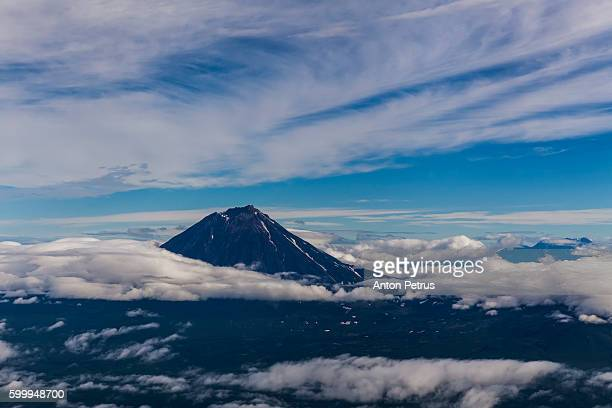Kamchatka, view from the aircraft on volcanoes
