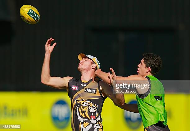 Kamdyn McIntosh of the Tigers competes for the ball during a Richmond Tigers AFL training session at ME Bank Centre on March 31 2015 in Melbourne...