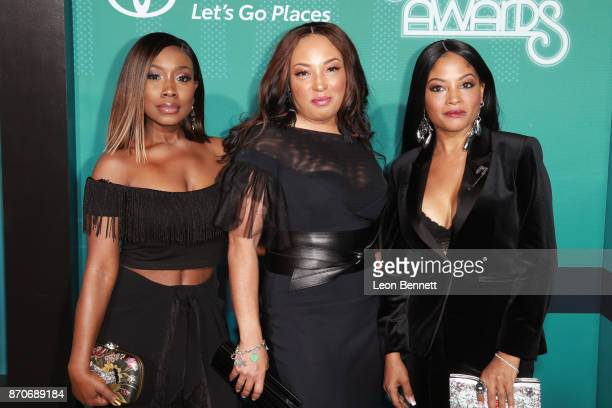 Kameelah Williams LeMisha Grinstead and Irish Grinstead of 702 attend the 2017 Soul Train Awards presented by BET at the Orleans Arena on November 5...