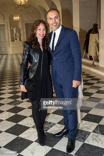Kamel Mennour and his wife Annika attend the private visit of the exhibition by Italian artist Giuseppe Penone at Chateau de Versailles on June 9...