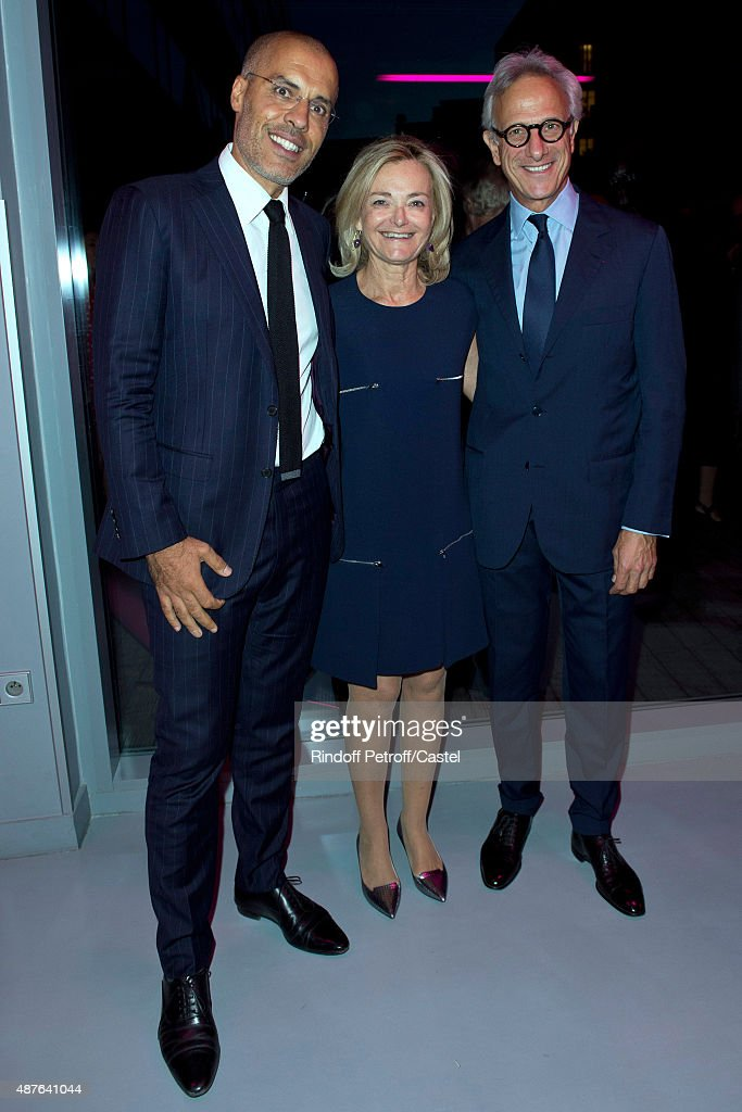 Kamel mennour, Florence de Botton and Francois de Ricqles attend the Auction Dinner to Benefit 'Institiut Imagine' on September 10, 2015 in Paris, France.