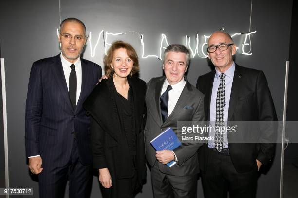 Kamel Mennour Marina CavazzanaCalvo Stanislas Lyonnet and Didier Krzentowski attend the 'Heroes for Imagine' host by Kamel Mennour benefit auction at...
