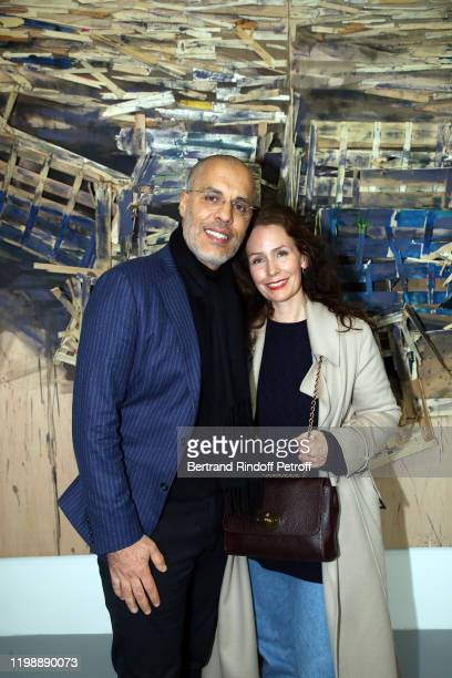 Kamel Mennpur and his wife Annika Mennour attend Tadashi Kawamata and Christian de Portzamparc during La Galette Des Rois King's Cake Celebration at...