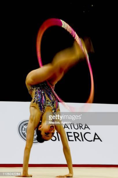 Kamelya Tuncel of Turkey individual rhythmic gymnast performs during the 2019 Alina Kabaeva Gazprom Champions Cup at Moscow's Luzhniki Sports Complex...