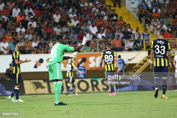 Kameni goalkeeper of Fenerbahce warns his team mates during 5th week of the Turkish Super Lig match between Aytemiz Alanyaspor and Fenerbahce at the...