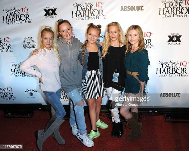 Kameron Couch, Mackenzie Couch, Pressley Hosbach, Katie Couch and Elliana Walmsle attend Queen Mary's 10th Annual Dark Harbor Media And VIP Night...