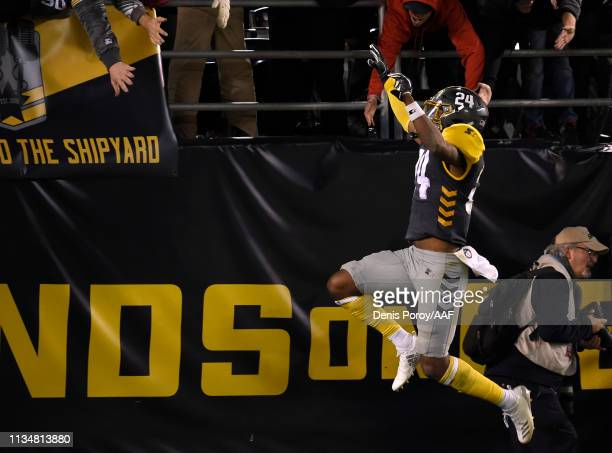 Kameron Kelly of the San Diego Fleet celebrates his touchdown off an interception during the fourth quarter of the Alliance of American Football game...