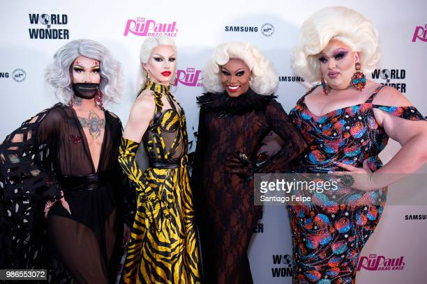 Kameron Michaels Aquaria Asia O' Hara and Eureka O'Hara attend the 'RuPaul's Drag Race' Season 10 Finale at Samsung 837 on June 28 2018 in New York...