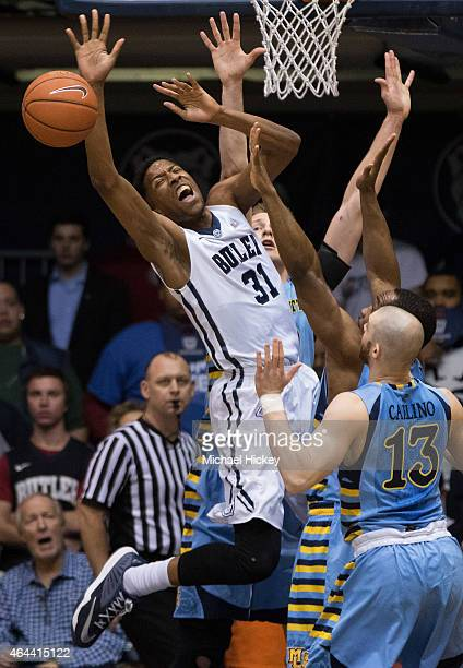 Kameron Woods of the Butler Bulldogs reacts after a losing the ball against the Marquette Golden Eagles at Hinkle Fieldhouse on February 25 2015 in...