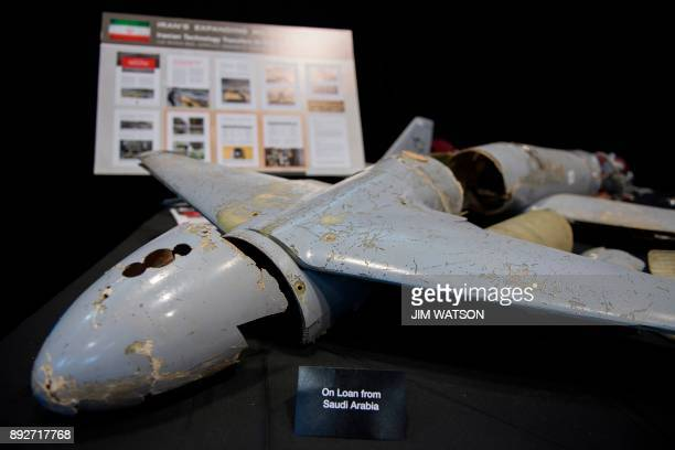 A kamikaze drone is seen on display after US Ambassador to the United Nations Nikki Haley unveiled previously classified information intending to...