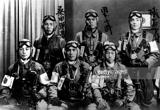 'Kamikaze' pilots, who deliberately crashed their bomb laden planes onto American warships during the Second World War. Here they have already tied...