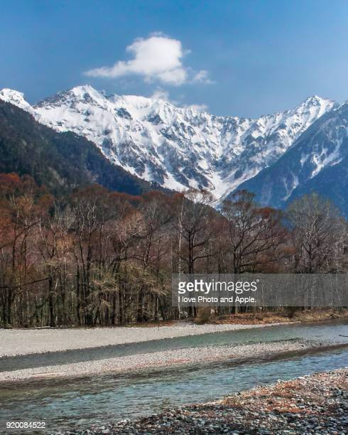 Kamikochi spring scenery, Azusa river, Mt.Hotaka