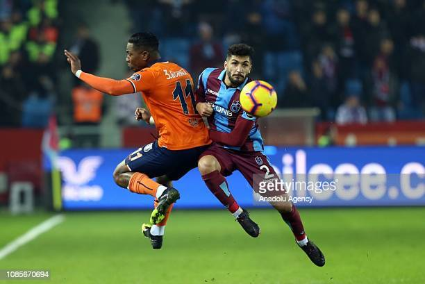 Kamil Ahmet Corekci of Trabzonspor in action against Eljero Elia during Turkish Super Lig soccer match between Trabzonspor and Medipol Basaksehir at...