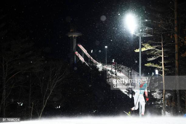 Kamil Bury of Poland competes during the CrossCountry Men's Sprint Classic Qualification on day four of the PyeongChang 2018 Winter Olympic Games at...