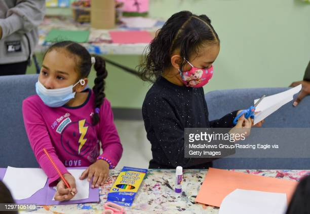 Kamil Esteves and Laynette Padilla make thank you cards to be sent to healthcare workers. At the Olivet Boys and Girls Club Mulberry Street location...