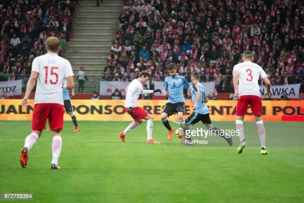 Kamil Glik Grzegorz Krychowiak Rodrigo Bentancur Mauricio Lemos and Artur Jedrzejczyk during the international friendly soccer match between Poland...