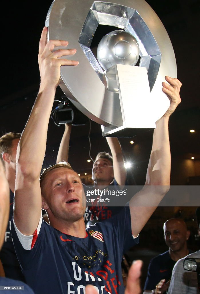 Kamil Glik of Monaco during the French League 1 Championship title celebration following the French Ligue 1 match between AS Monaco and AS Saint-Etienne (ASSE) at Stade Louis II on May 17, 2017 in Monaco, Monaco.