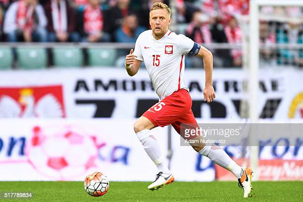Kamil Glik of Poland controls the ball during the international friendly soccer match between Poland and Finland at the Municipal Stadium on March 26...