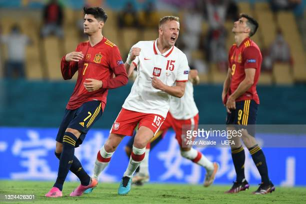 Kamil Glik of Poland reacts after Gerard Moreno of Spain misses a penalty during the UEFA Euro 2020 Championship Group E match between Spain and...