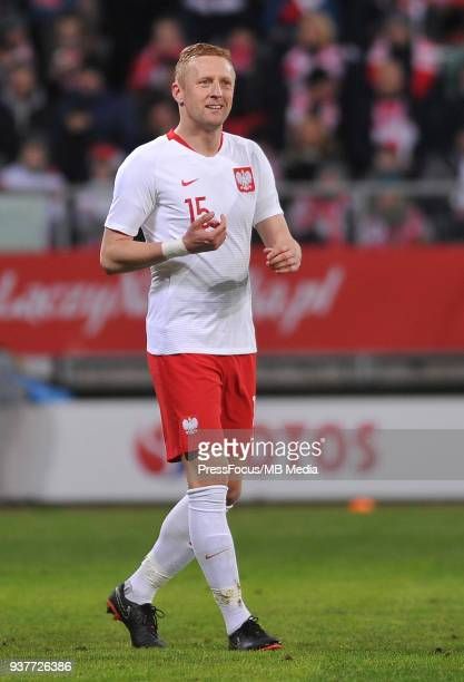 Kamil Glik of Poland reacts during the international friendly match between Poland and Nigeria at the Municipal Stadium on March 23 2018 in Wroclaw...