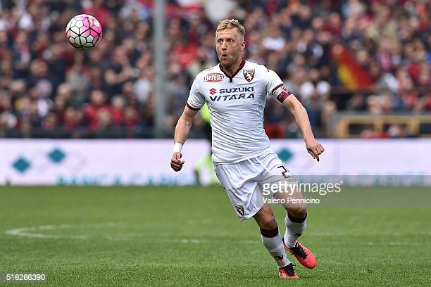 Kamil Glik of Torino FC in action during the Serie A match between Genoa CFC and Torino FC at Stadio Luigi Ferraris on March 13 2016 in Genoa Italy