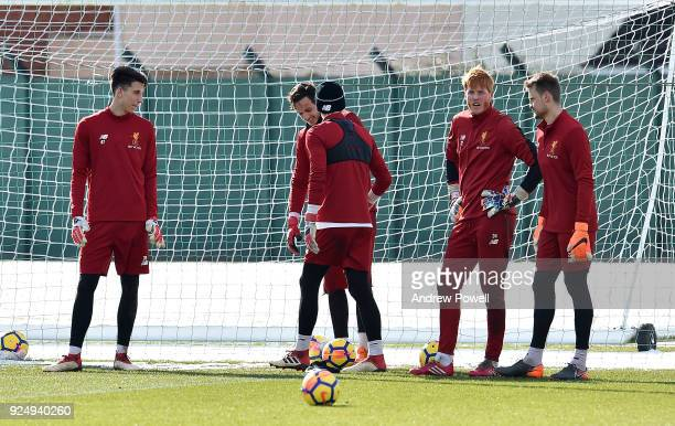 Kamil Grabara Adam Bogdan Danny Ward Simon Mignolet and Loris Karius of Liverpool during a training session at Melwood Training Ground on February 27...
