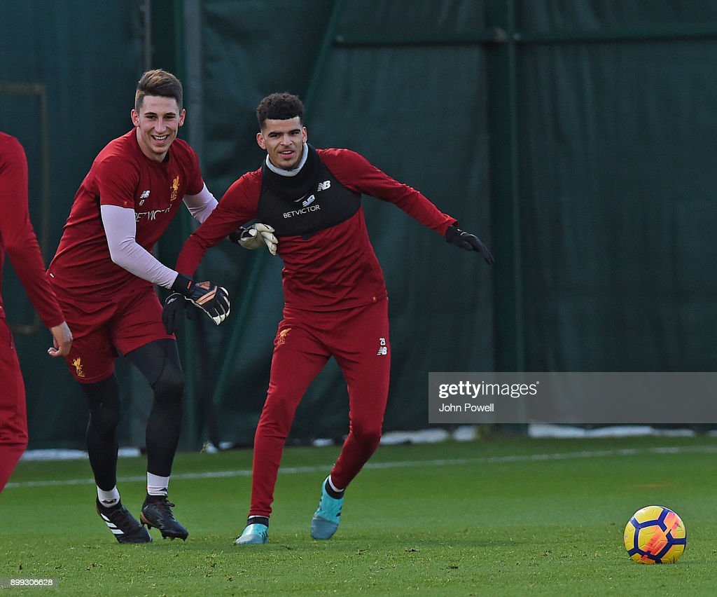 Kamil Grabara and Dominic Solanke of Liverpool during a training session at Melwood Training Ground on December 28, 2017 in Liverpool, England.