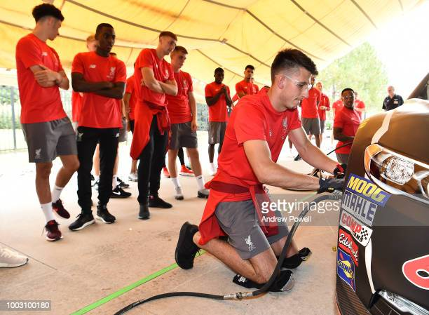 Kamil Grabara of Liverpool changing tyres during a tour of Roush Fenway Racing on July 21 2018 in Charlotte North Carolina