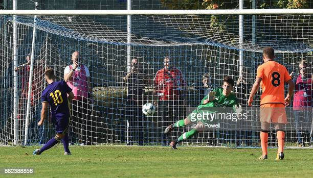 Kamil Grabara of Liverpool makes a penalty save Tomi Horvat of NK Maribor during the UEFA Youth League group E match between NK Maribor and Liverpool...