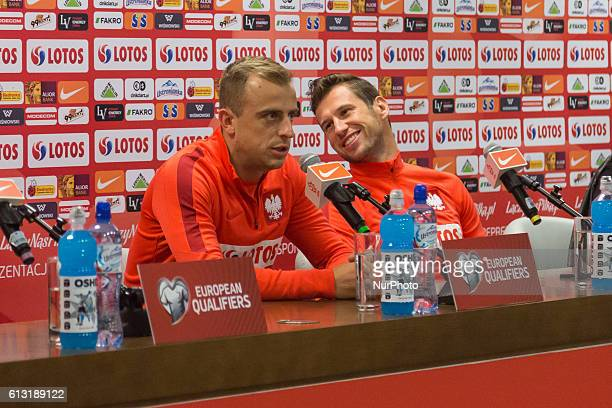 Kamil Grosicki and Grzegorz Krychowiak during the press conference of Poland national football team before 2018 FIFA World Cup qualification match...