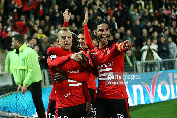 Kamil Grosicki and Pedro Mendes of Rennes during the Ligue 1 match between FC Nantes and Stade Rennais at Stade de la Beaujoire on October 22 2016 in...