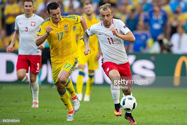 Kamil Grosicki Artem Fedetskiy during the UEFA EURO 2016 Group C match between Ukraine and Poland at Stade Velodrome on June 21 2016 in Marseille...