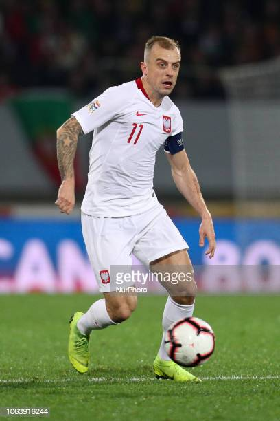 Kamil Grosicki forward of Poland in action during the UEFA Nations League football match between Portugal and Poland at the Dao Afonso Henriques...