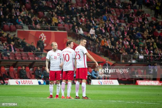 Kamil Grosicki Grzegorz Krychowiak and Jaroslaw Jach during the international friendly soccer match between Poland and Uruguay at the PGE National...