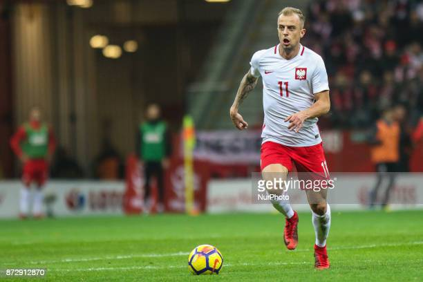 Kamil Grosicki in action during the international friendly match between Poland and Uruguay at National Stadium on November 10 2017 in Warsaw Poland
