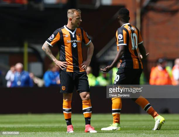 Kamil Grosicki of Hull City and Alfred N'Diaye of Hull City react to Crystal Palace scoring their sides first goal during the Premier League match...