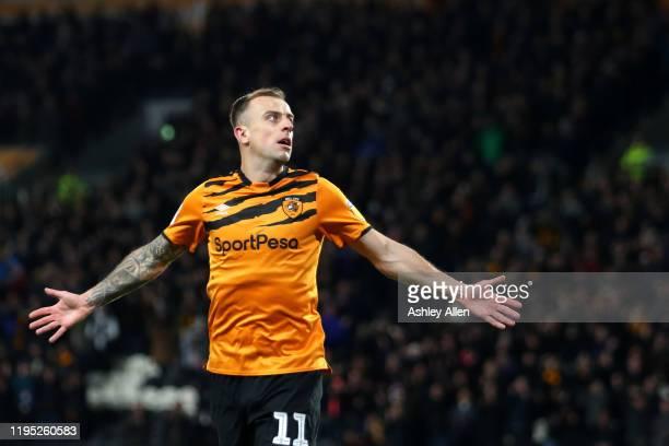 Kamil Grosicki of Hull City celebrates scoring a goal during the Sky Bet Championship match between Hull City and Birmingham City at KCOM Stadium on...
