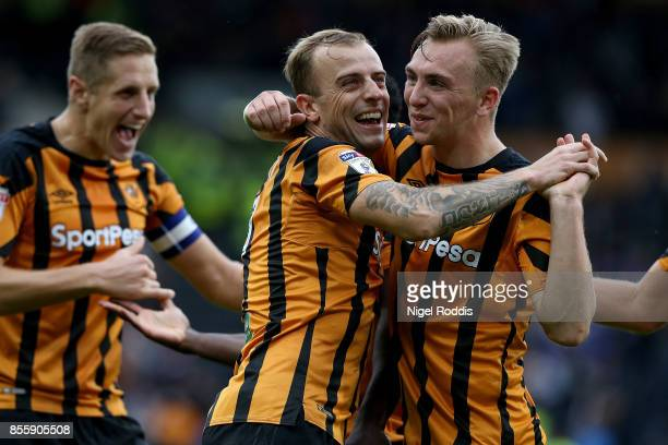 Kamil Grosicki of Hull City celebrates scoring during the Sky Bet Championship match between Hull City and Birmingham City at KCOM Stadium on...